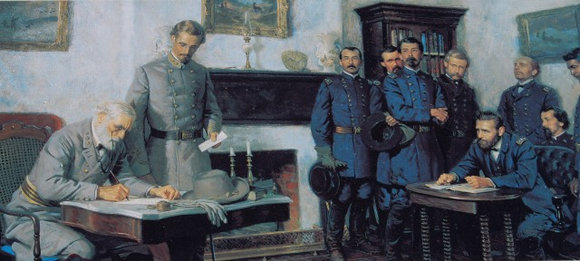 Robert E. Lee signing the surrender documents at Appomattox Court House. Photo by Frank Kovalchek/Flickr, licensed under Creative Commons