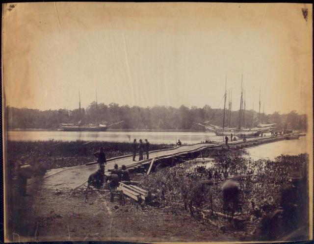 Pontoon bridge across the James.  Alexander Gardner, photographer, circa 1864.
